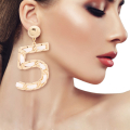 Wholesale Supplier- White and Gold No 5 Earrings-1