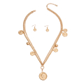 Wholesale Accessories- Gold Chain Layered Coin Necklace-2