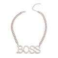 Wholesale Accessories- Silver Chunky BOSS Necklace-2