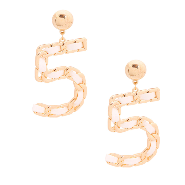 Wholesale Accessories- White and Gold No 5 Earrings-2
