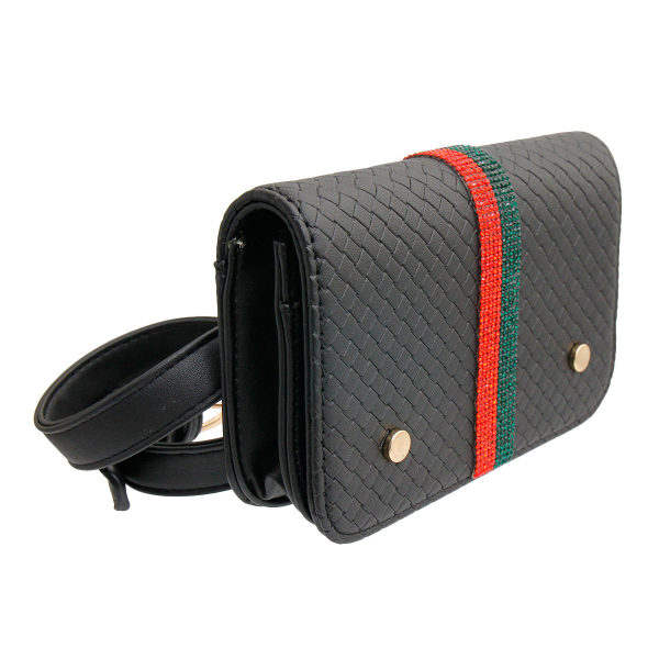 Wholesale Jewelry- Gucci Style Black Quilted Waist Bag-1