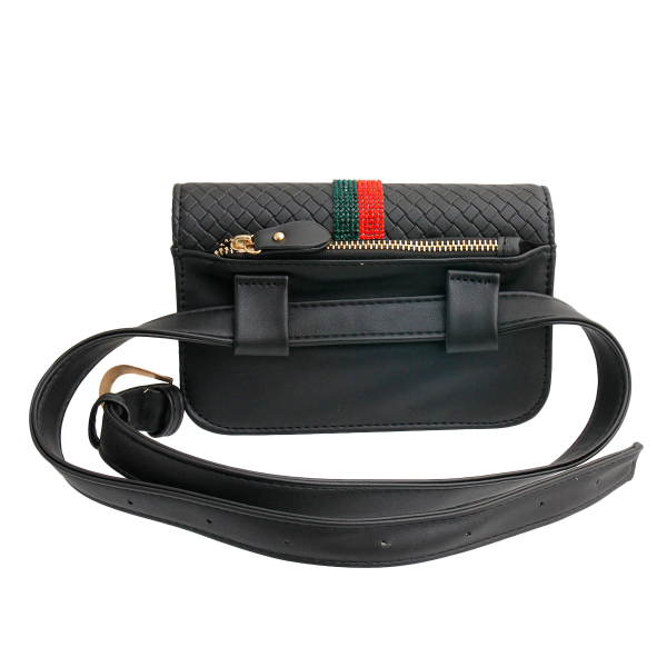 Wholesale Accessories- Gucci Style Black Quilted Waist Bag-4