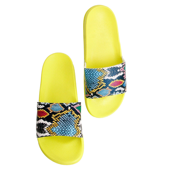 Wholesale Accessories- Size 7 Yellow Snake Print Slides-2