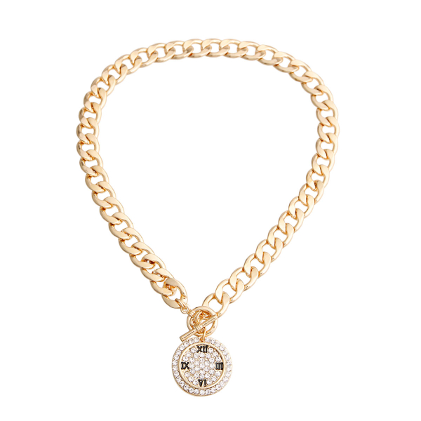 Wholesale Jewelry- Gold Pave Clock Face Necklace-2