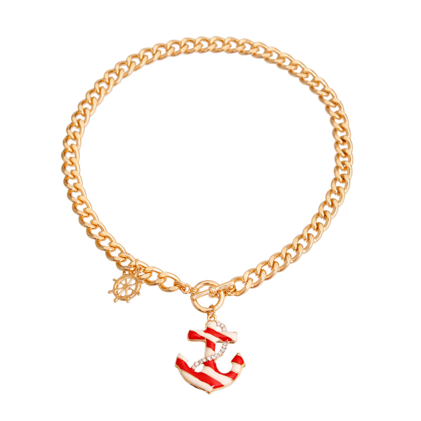 Wholesale Jewelry- Red Stripe Anchor Charm Necklace-2