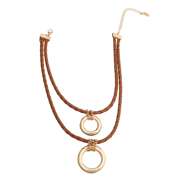 Wholesale Jewelry- Brown Leather Ring Necklace-2