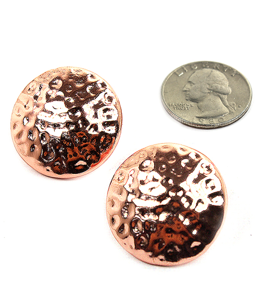 Wholesale Jewelry- Rose Gold Hammered Round Stud Earring-1