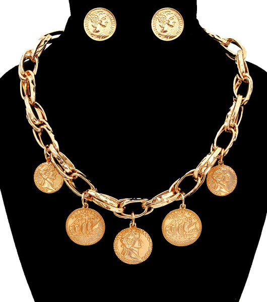 Wholesale Supplier- Coin with Chain Necklace Set-1
